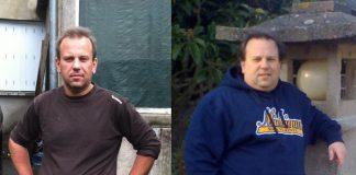 Photo d'un homme avant et après une sleeve gastrique.